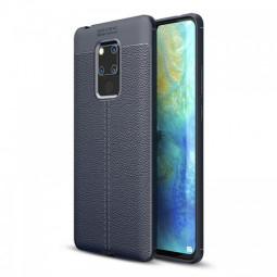 Soft TPU Litchi Texture Pattern Shockproof Phone Case Back Cover for Huawei Mate 20X - Navy Blue