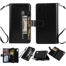 PU Stand Flip Phone Cover Zipper Phone Case with Card Wallet for iPhone XR - Black