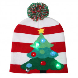 LED Light Knitted Christmas Warm Hat New Year Party Decoration Tree Snowflake Hat for Kid Adult - Christmas Tree