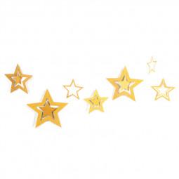 7pcs/set Hanging Shining Glitter Paper Star Wedding Birthday Party Ornament Christmas Decoration - Gold