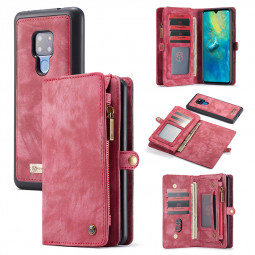 2 in 1 Business Vintage PU Leather Phone Case Wallet  Case with Card Slot for Huawei Mate 20 - Red