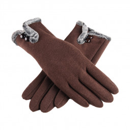 Women Winter Warm Thick Biking Cotton Fleece Fashion Windproof Touch Screen Gloves - Brown