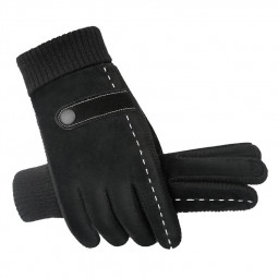 Men Outdoor Sport Winter Leather Gloves Thick Warm Fleece Touch Screen Windproof Ski Driving Gloves D - Black