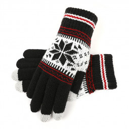 Winter Touch Screen Finger Gloves Classic Knitted Jacquard Xmas Keep Warm Gloves for Women and Men - Black