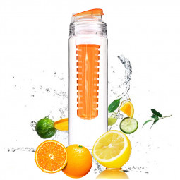 800ML Creative Sport Fruit Infusing Filter Isolation Plastic Water Bottle Outdoor Lemon Bottle - Orange