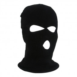 Full Face Cover 3 Holes Balaclava Knitted Hat Winter Stretch Snow Mask SAS Style Hat Neck Warmer Ski Ride Mask - Black