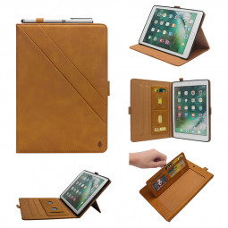"""Flip Double Holder Leather Tablet Case with Card Slot Kickstand Pen Slot for iPad Pro 12.9"""" 2016/2017 - Light Brown"""