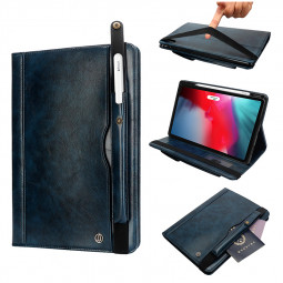 """Tablet PC Flip Wallet PU Leather Cover Case with Card Slot Pencil Holder Kickstand for iPad Pro 12.9"""" 2018 - Navy Blue"""