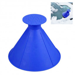 Car Windshield Magic Ice Scraper Tool Cone Shaped Outdoor Funnel Snow Remover - Blue