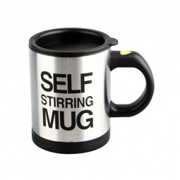 Self Stirring Mug Coffee Cup Auto Mixer Drink Tea Home Insulated Stainless 400ml - Black