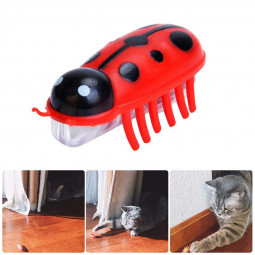 Mini Robotic Bug Interactive Cat Toy Fast Moving Electric Teasing Toys with Battery - Red Ladybug