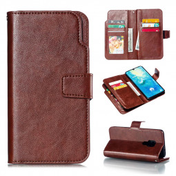 PU Leather Flip Stand Case Cover with Zipper 9 Card Slots for Huawei Mate 20 - Brown