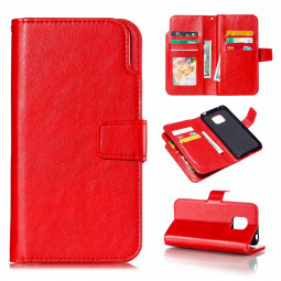 Business Leather Flip Stand Wallet Case Phone Cover with 9 Card Slots for Huawei Mate 20 Pro - Red
