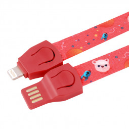 0.85cm 8pin Braided Lanyard Strap iPhone Charging Cable - Red