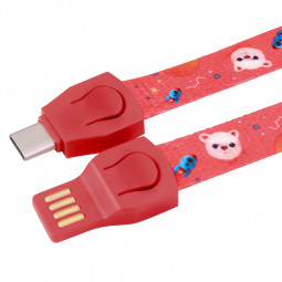 85cm Lanyard Strap Braided Type - C Charging Charger Cable - Red