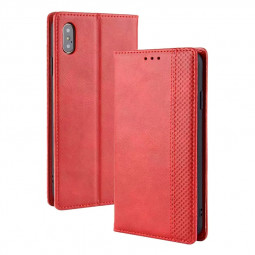 Vintage Magnetic Buckle with Card Slot Wallet Flip Leather Phone Case for iPhone X/XS - Red