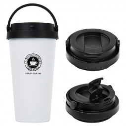 500ml Fashionable Travel Portable Stainless Steel Coffee Cup Vacuum Insulation Water Bottle - White