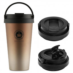 500ml Fashionable Travel Portable Stainless Steel Coffee Cup Vacuum Insulation Water Bottle - Gradient Gold