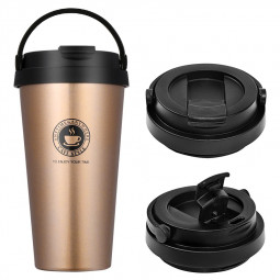 500ml Fashionable Travel Portable Stainless Steel Coffee Cup Vacuum Insulation Water Bottle - Gold