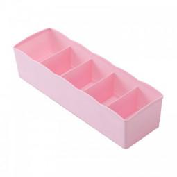 Five Lattice Plastic Drawer Storage Boxes Socks Underwear Lingerie Organizer Makeup Bra Home Daily Box divider - Pink