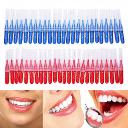 50pcs Dental Orthodontic Oral Floss Heads Gap Brush with Soft Dupont Bristles Toothpick Teeth Cleaning Care