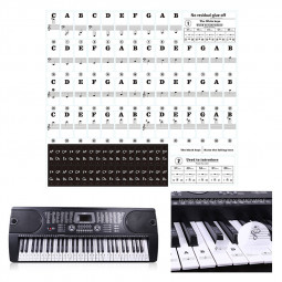 54/61/88 Transparent Piano Keyboard PVC Sticker Stave Electronic Keyboard Sound Name Note Sticker - Black