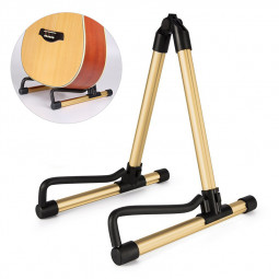 Universal Aluminum Silicone Foldable Lightweight Portable Guitar Instrument Stand Holder - Gold