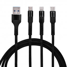 Universal 3 in 1 Portable Type-c Micro USB Android and 8pin Charging Cable 1.2m - Black
