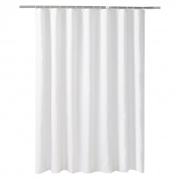 200x200cm Solid Color Shower Curtain Waterproof Bathroom Partition Curtain with Hooks Rings - White