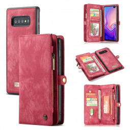 Multifunction Magnetic Leather Wallet Purse Flip Phone Case Cover for Samsung Galaxy S10 - Red