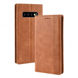 Business 4 Card Slots Magnetic Buckle Wallet Flip Leather Fashion Case for Samsung Galaxy S10 - Brown