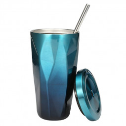500ML Travel Mug Gradient Colour Cup with Straw Insulated Stainless Steel Tumbler Drinking Coffee Cup Water Bottle - Blue