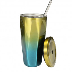 500ML Travel Mug Gradient Colour Cup with Straw Insulated Stainless Steel Tumbler Drinking Coffee Cup Water Bottle - Yellow