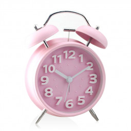 """4"""" Mini Vintage Classic Bedside Table Loud Twin Bell Alarm Clock with Luminous Light - Pink"""