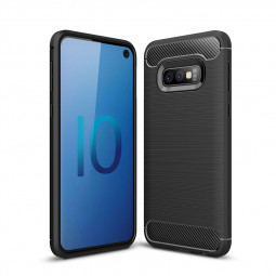 TPU Carbon Fiber Pattern Shockproof Phone Case Back Cover for Samsung Galaxy S10e - Black