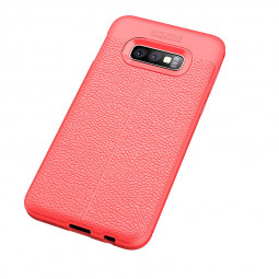 Business Grainy Texture Soft TPU Shockproof Case Back Cover for Samsung Galaxy S10e - Red