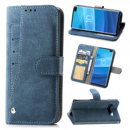 Multi Card Slots Matte Leather Rotating TPU Case Holster Book Case for Samsung Galaxy S10 Plus - Blue