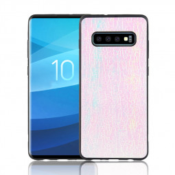 PU Leather + TPU Material Colorful Discoloration Soft Back Cover Case for Samsung Galaxy S10 Plus - Pink