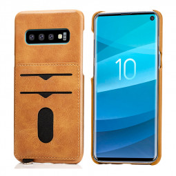 Business Simple Leather Grainy with Card Slots Back Case Phone Cover for Samsung Galaxy S10 - Khaki