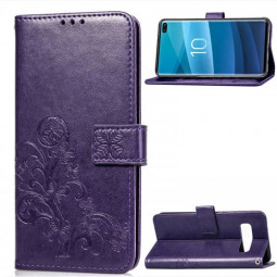 Lucky Clover Embossed Card Case Wallet Holder Case PU with Lanyard for Samsung Galaxy S10 Plus - Purple