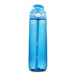 750ML Tritan Sport Outdoor Drinking Hook Type Water Bottle with Straw Silicone Nozzle for Camping Travel - Blue