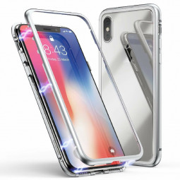 Magnetic Adsorption Metal Edge Phone Case Tempered Glass Back Case and Screen Protector for iPhone XS Max - Transparent White