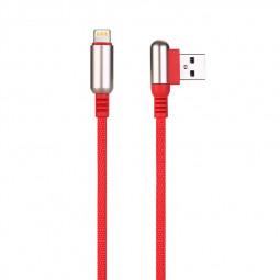 1 M Bullet Shape 8pin Charging Cable Durable Soft Braided Cable for iPhone - Red