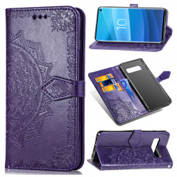 Flower Embossing Leather Phone Case Cover with Holder Stand Card Slot for Samsung Galaxy S10e - Purple