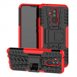 Heavy Duty Rugged Shockproof Phone Cover Back Case with Kickstand for Huawei Mate 20 Lite - Red