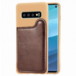 PU Leather Wallet Card Case TPU Back Cover Mobile Phone Protective Cover for Samsung Galaxy S10 Case - Brown