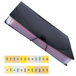 A4 Office File Organiser Expanding File Box Folder Document Organiser with Flip Cover - 24 Pocket