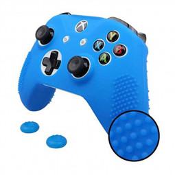 Xbox One X S Slim Controller Silicone Case + 2 pcs Joystick Grips Analog Stick Caps - Blue