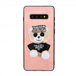 Embroidered Bear Mobile Phone Back Case for Samsung Galaxy S10 Plus - Pink