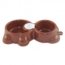 Bear Shape Automatic Drinker Pet Feeder and Drinking Water Bowl Dual Purpose Bowl - Coffee